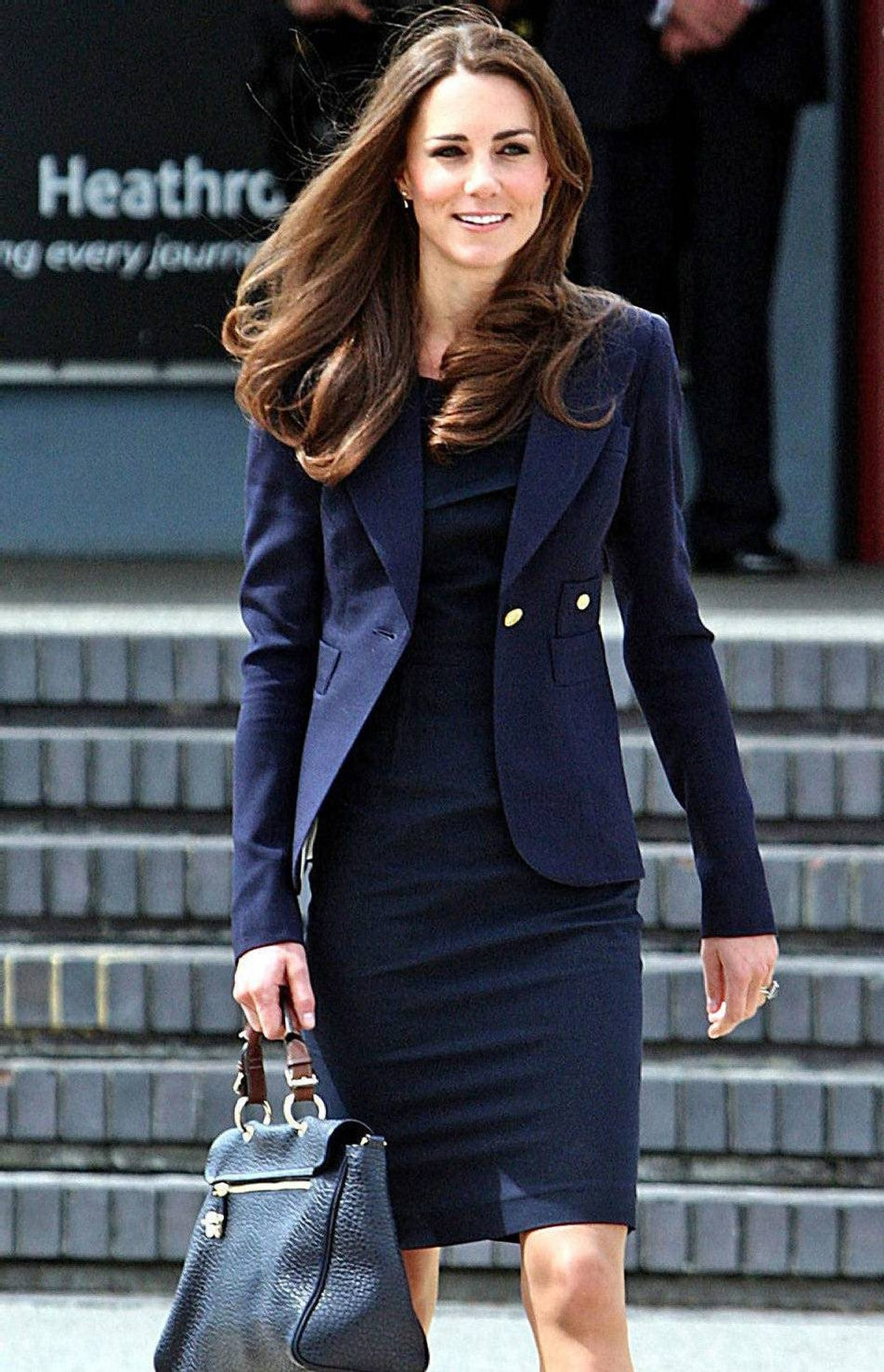 Catherine, The Duchess of Cambridge, arrives to board a plane of the Royal Canadian Air Force at London's Heathrow Airport to travel to Ottawa, Canada, on June 30, 2011. Prince William and his wife Catherine left Britain on Thursday for a nine-day tour of Canada, kicking off their first official foreign trip as husband and wife, a royal official said. The 29-year-old newlyweds flew out of London's Heathrow airport and will arrive in Ottawa later in the day, a royal spokeswoman told AFP.