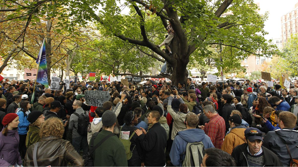 Protesters gather for the Occupy Toronto march on October 15, 2011.