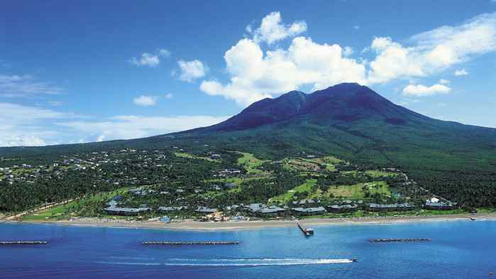 Nevis, sister islet to St. Kitts, is lush and green.