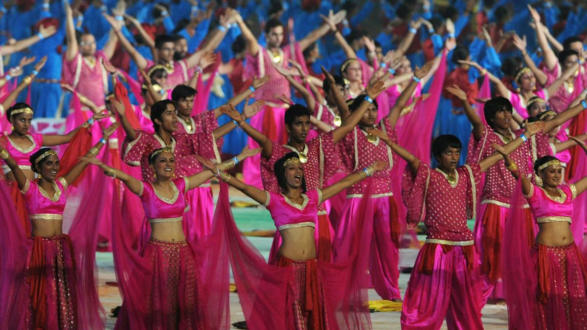 Dancers perform during the Commonwealth Games closing ceremony at the Jawaharlal Nehru stadium in New Delhi on Thursday.