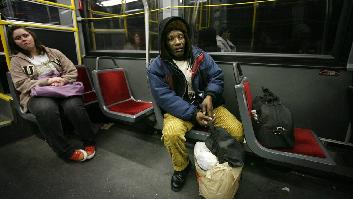 Lesbert Campbell rides the Dufferin bus south after finishing work as a cleaner in downtown Toronto.