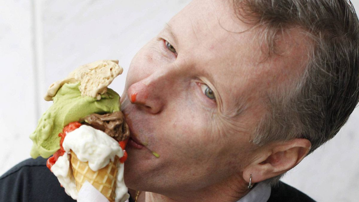 James Coleridge samples some gelato at his shop Bella Gelateria in downtown Vancouver on June 29, 2011.
