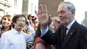 Former prime minister Jean Chretien greets the public after the state funeral for late NDP leader Jack Layton at Roy Thomson Hall in Toronto on Aug. 27, 2011.