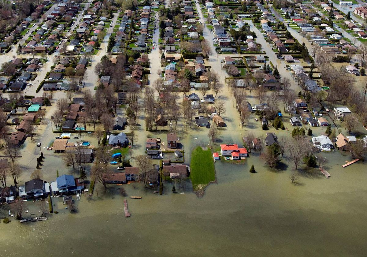 An aerial view of the flooded areas along the Richelieu River Friday, May 6, 2011 in St-Jean-sur-Richeieu, Que.