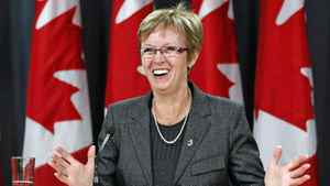 Nycole Turmel is all smiles as an Ottawa news conference wrapping up her term as Interim NDP Leader on March 21, 2012.