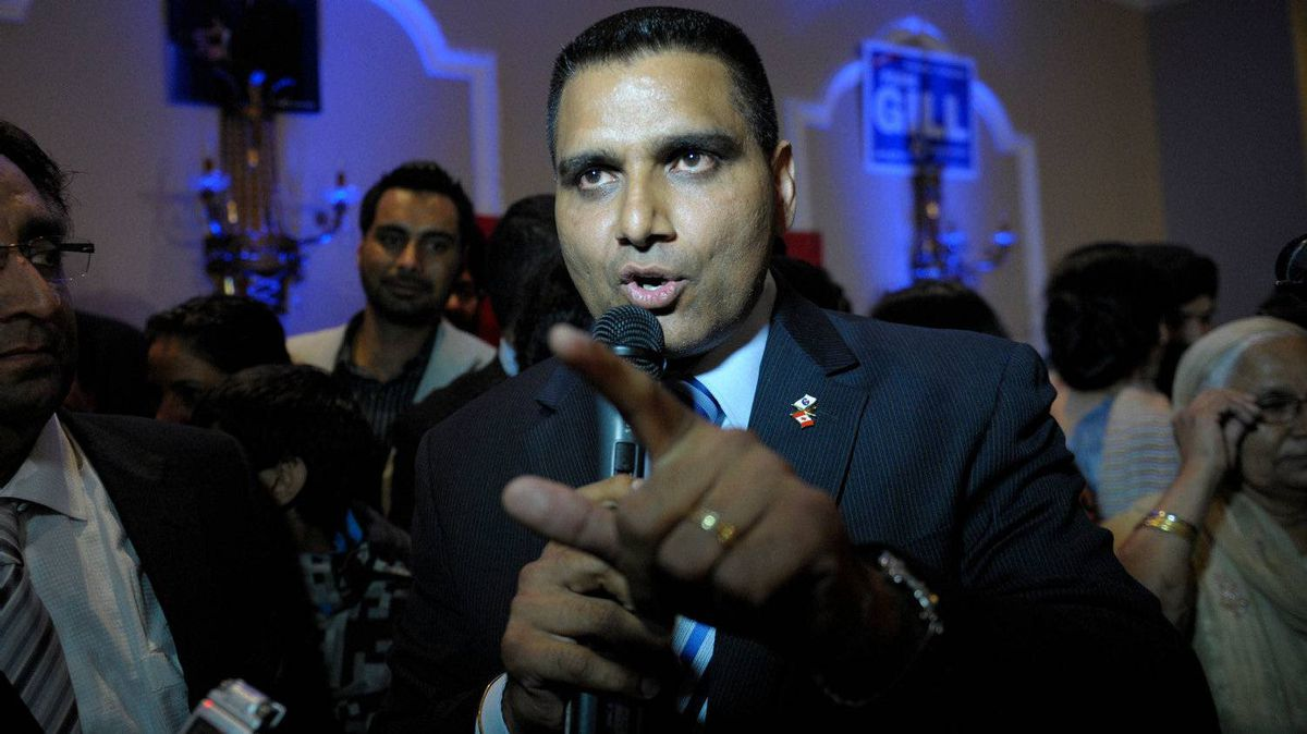 Conservative Parm Gill unseats Ruby Dhalla, the Liberal incumbent, during a tight race in the riding of Brampton-Springdale on May 2, 2011.