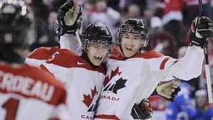 Canada's Ryan Strome (R) celebrates his goal against Finland with teammate Mark Pysyk (5) during the third period of play at the 2012 IIHF U20 World Junior Hockey Championships in Edmonton, Alberta, December 26, 2011. REUTERS/Todd Korol