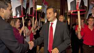 Prince Edward Island Liberal Leader Robert Ghiz greets supporters in Charlottetown on Oct. 3, 2011, after his party won a majority in the provincial election.