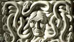 A carving at the entrance to the House of Commons.