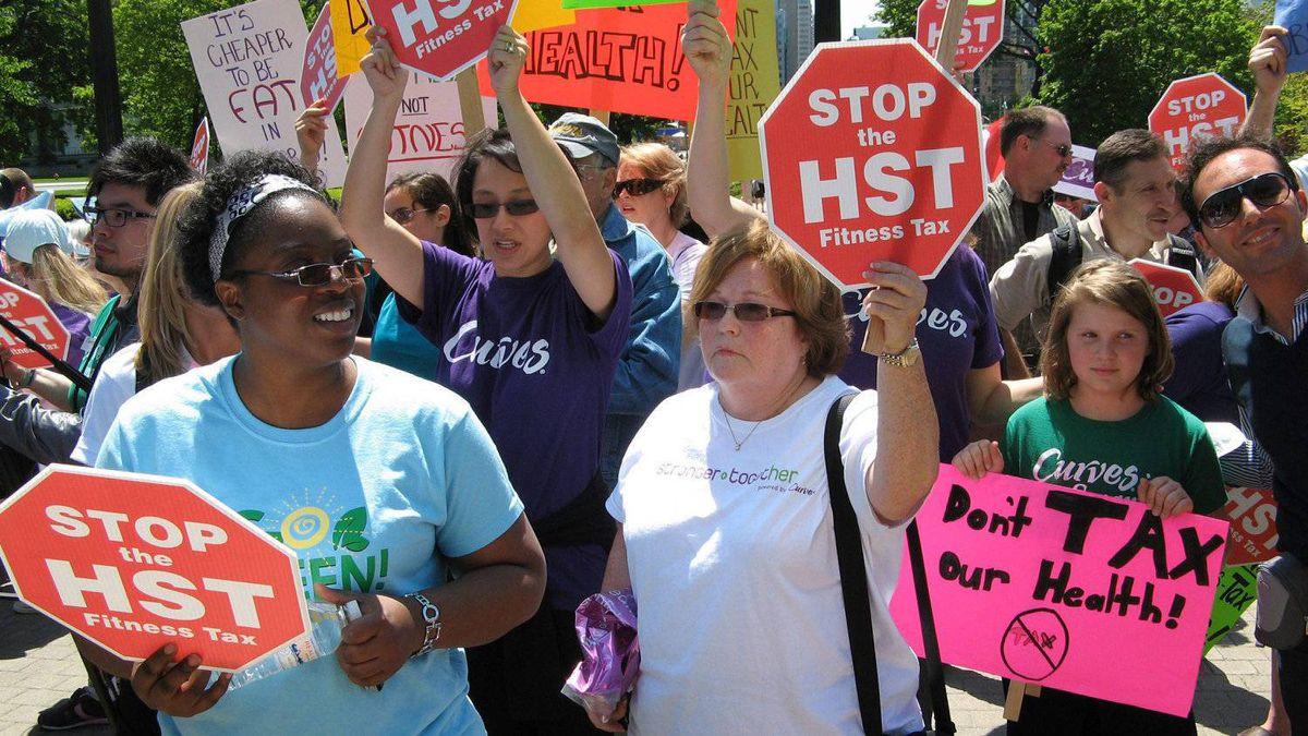 Fitness enthusiasts protest the HST at the provincial legislature in Toronto, Wednesday, May 19, 2010.
