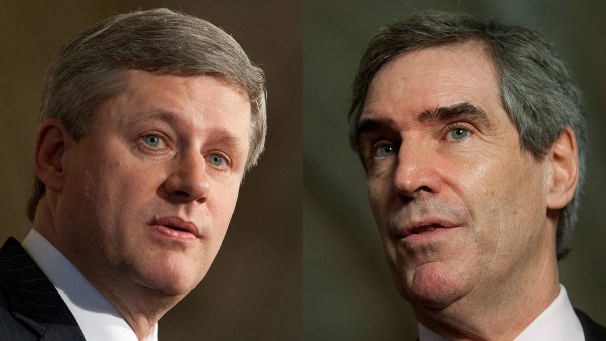 Combination photo shows Prime Minister Stephen Harper, left, and Liberal Leader Michael Ignatieff. The Canadian Press