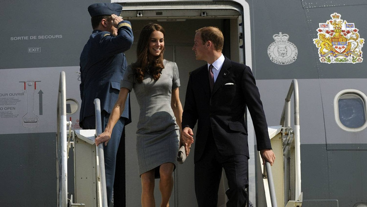 Prince William and his wife Catherine, Duchess of Cambridge, arrive at Montreal's Pierre Elliott Trudeau International Airport on the third day of their nine-day tour of Canada on July 2, 2011.