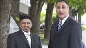 Bob Virk (L) and Dave Basi (R) walk out of Vancouver's BC Supreme court May 17. 2010 during a lunch break.