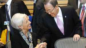 United Nations Secretary General Ban Ki-moon, right, shakes hands with International Monetary Fund (IMF) Managing Director Christine Lagarde during a meeting on sustainable development, Friday, April 20, 2012, at the IMF and World Bank Group Spring Meetings in Washington.