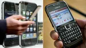 Apple and Nokia phones