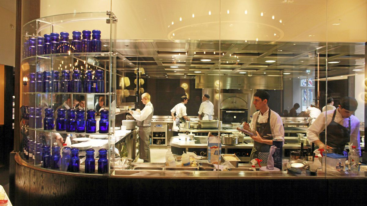 The kitchen at Dinner by Heston Blumenthal at the Mandarin Oriental in London.