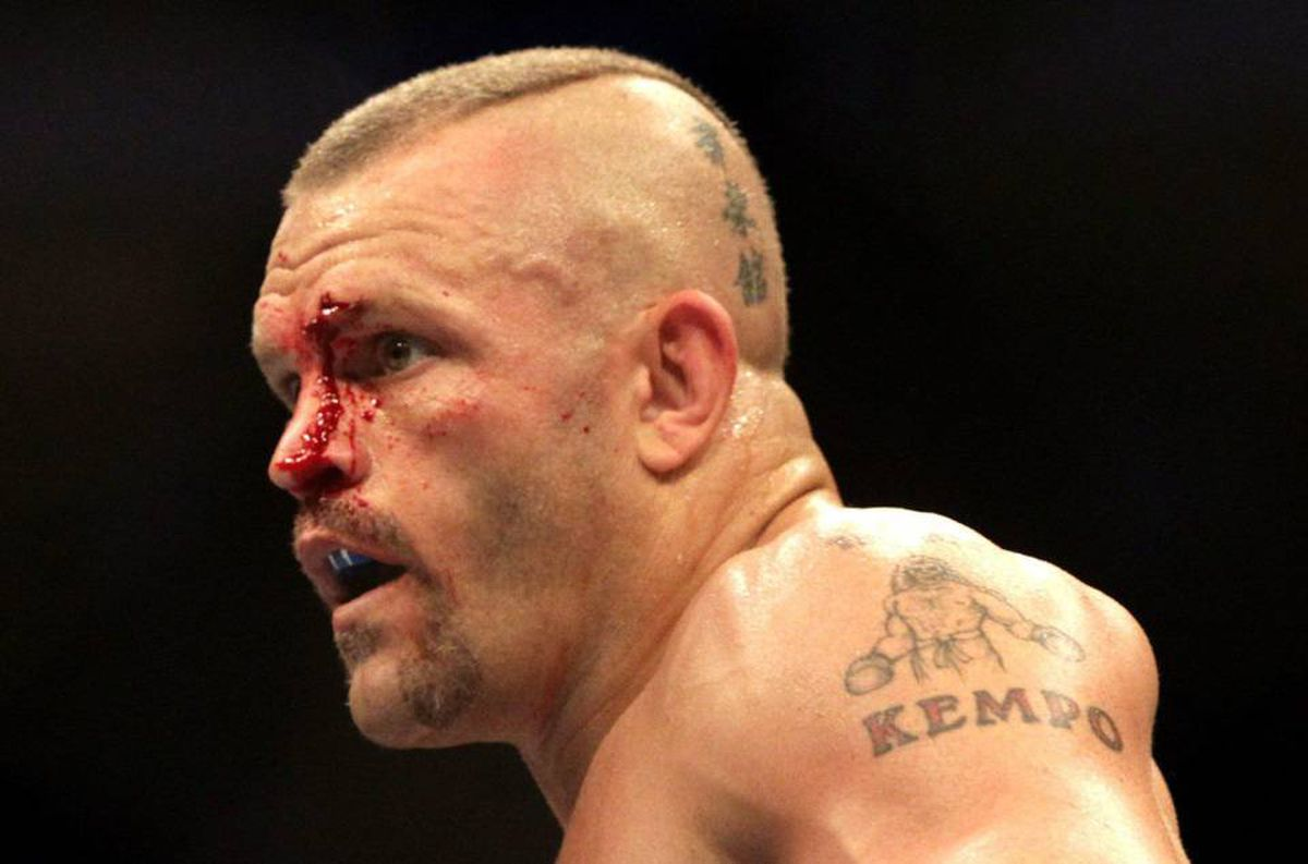 A bloodied Chuck Liddell, of Santa Barbara, Calif., bleeds during his match against Rich Franklin, of Cincinnati, Ohio, during UFC 115 in Vancouver, British Columbia, Canada, on Saturday June 12, 2010.