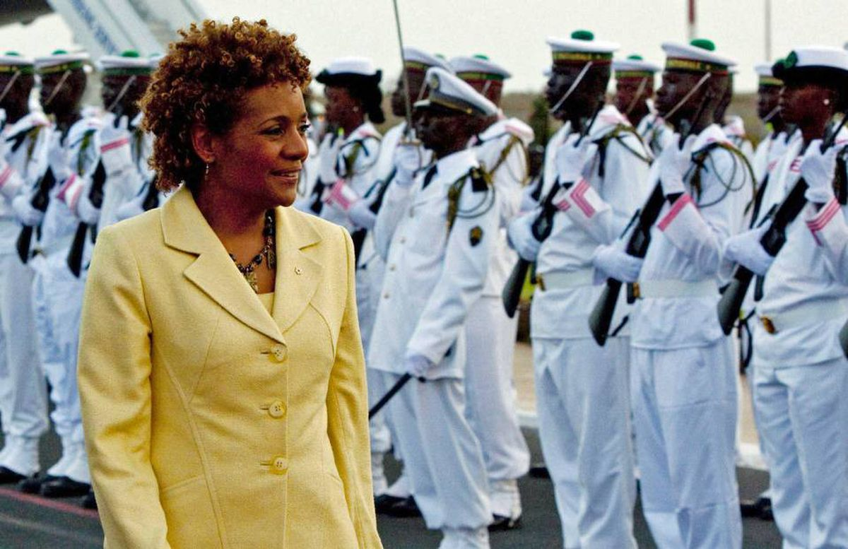 Governor-General Michaelle Jean is greeted by an honour guard as she arrives in Dakar on April 14, 2010. Senegal is the first of four countries she will visit on a 10 day trip to Africa.