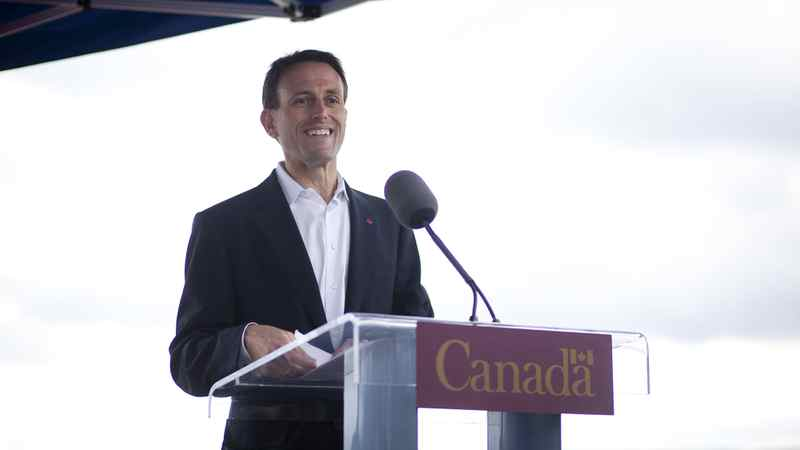 MP for West Vancouver-Sunshine Coast-Sea to Sky Country John Weston speaks at a ceremony commemorating the Lions Gate bridge as a national historic site of Canada