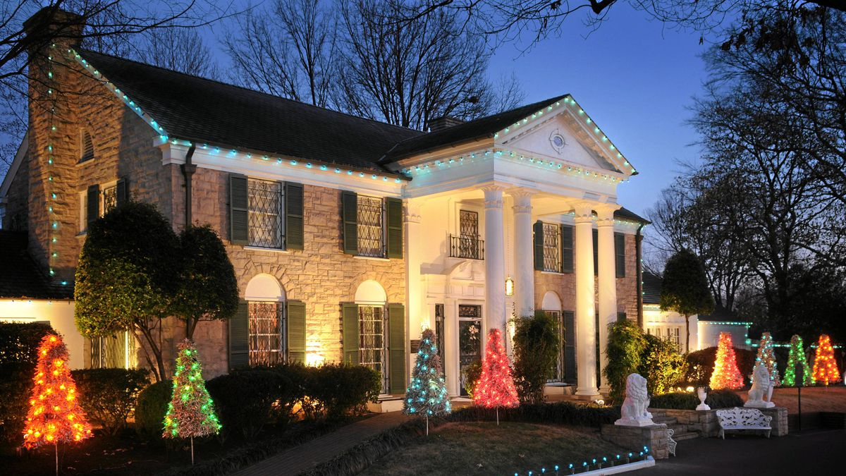 Graceland is all decked out for Christmas.