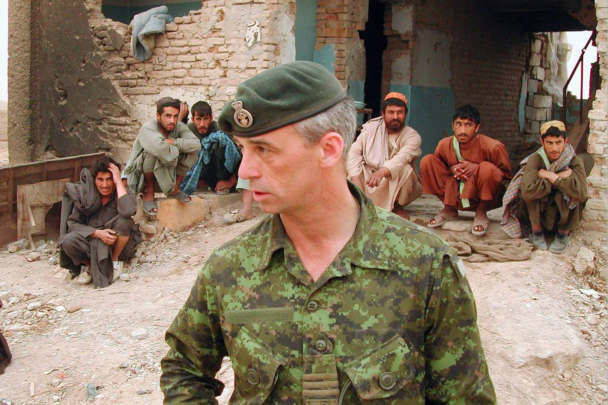 Colonel Pat Stogran, then commander of Canadian Forces in Afghanistan, is shown near Kandahar in April of 2002.