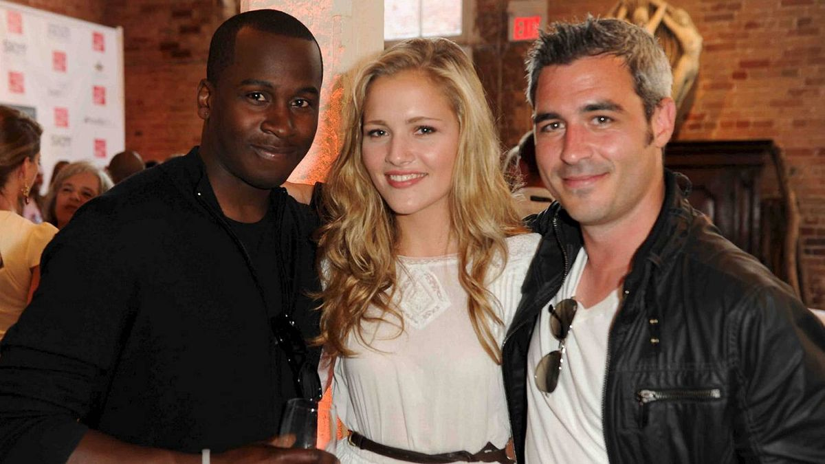 Kwame Hills, Elissa Mielke and Andy Rosso at the Sutherland Model party.