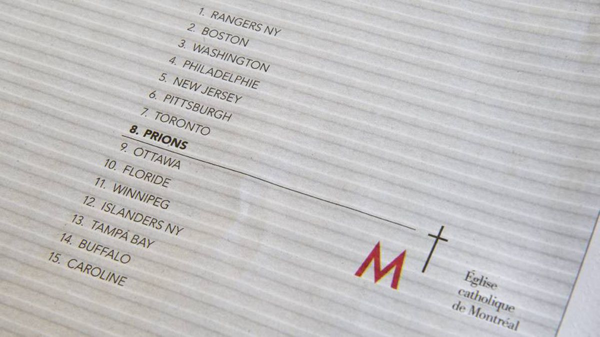 """A newspaper ad by the Archdiocese of Montreal is shown in a Montreal newspaper Thursday, February 9, 2012 in Montreal. The Catholic church has placed an ad in Montreal newspapers today encouraging people to pray for an eight-place finish - and a playoff spot - for the Montreal Canadiens. The 8th position line in the photo translates to """"let us pray""""."""