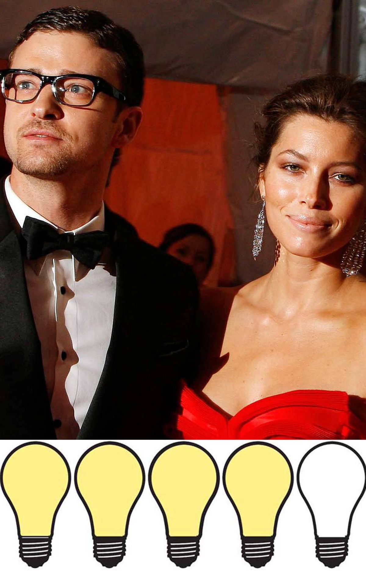 """JESSICA BIEL / JUSTIN TIMBERLAKE: 80 watts Now that Jessica Biel and Justin Timberlake are rumoured to be engaged, they're going to need one of those moronic mash-up names – Brangelina, Tomkat, etc. – to signify their place in the celebrity-couple firmament. Contenders include Timberbiel and, though not a portmanteau, the hip-with-it sounding """"Double J."""" I'm nominating """"Jessilake."""" Either way, congratulations are in order. The celebrity gossip machine loves weddings, and while your engagement has yet to be confirmed, the mere rumour of it lit the Internet on fire."""