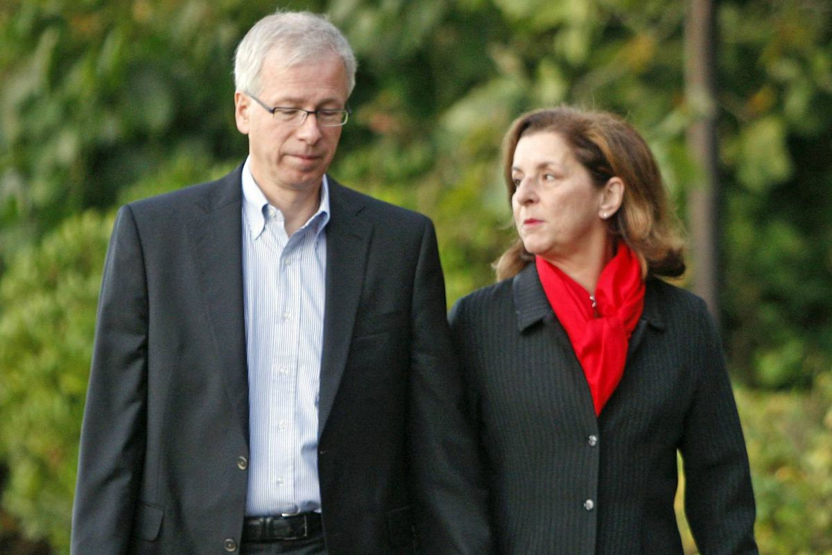 Then-Liberal leader Stephane Dion and his wife Janine Krieber walk near their hotel in Vancouver on election day, October 14, 2008.