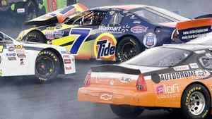 Former F1 world champion Jacques Villeneuve crashes his number 7 Tide Ford Fusion in the second turn of the first lap in the NASCAR Canadian Tire Tide 250 at the Autodrome in St.-Eustache, Que., in 2009.