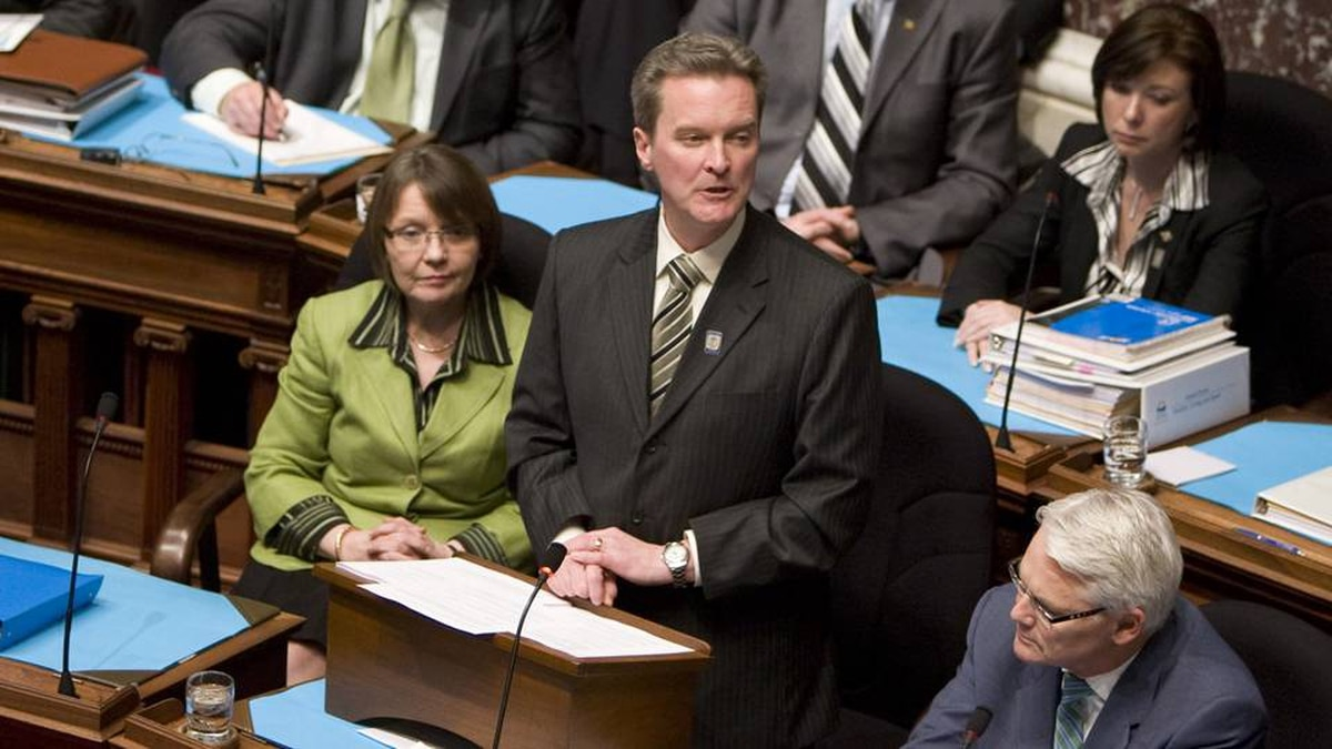 British Columbia Finance Minister Colin Hansen tables the provincial budget in the B.C. Legislature in Victoria on Feb. 17, 2009. Jonathan Hayward/The Canadian Press
