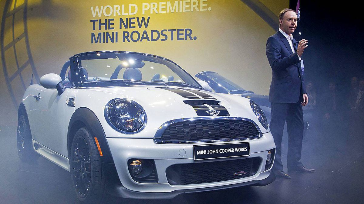 Ian Robertson, BMW Group's head of marketing, introduces the new 2013 MINI Roadster at the North American International Auto Show in Detroit.