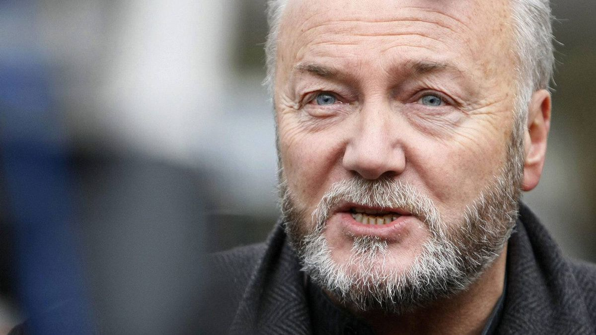 British Member of Parliament George Galloway gives an interview to a television station, as anti-war protesters demonstrate outside the Iraq Inquiry, as former British Prime Minster Tony Blair gives evidence, London , Friday, Jan. 29, 2010.
