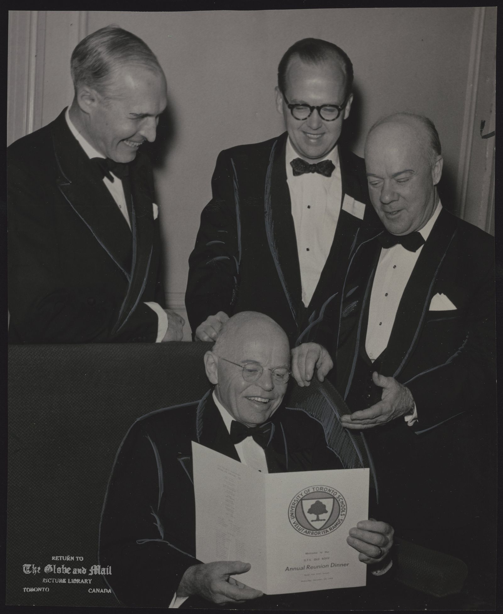 DEAN A. C. LEWIS For many years headmaster of UTS now retired. UTS Boys at Annual Dinner and Get-Together. Standing, from left, are: Chief Justice Porter, class of 1918; James Renwick, class of 1935 and president of the Old Boys Association, and Senator Joseph Sullivan, class of 1919. Seated is Dean A.C. Lewis, for many years headmaster of the school. Now retired, he was guest of honor.