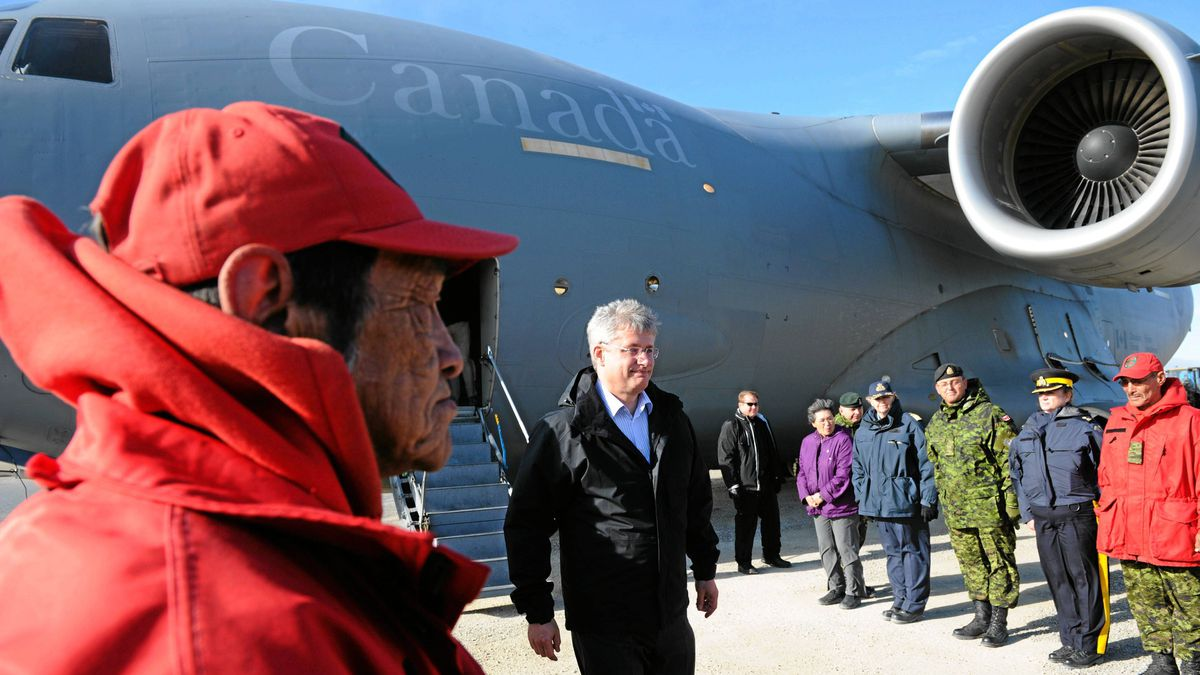 Prime Minister Stephen Harper arrives in Resolute Bay, Nunavut on Aug. 23, 2011. Mr. Harper is on a four-day tour of the north visiting Resolute Bay, Baker Lake, Whitehorse, Yellowknife, and Haines Junction.
