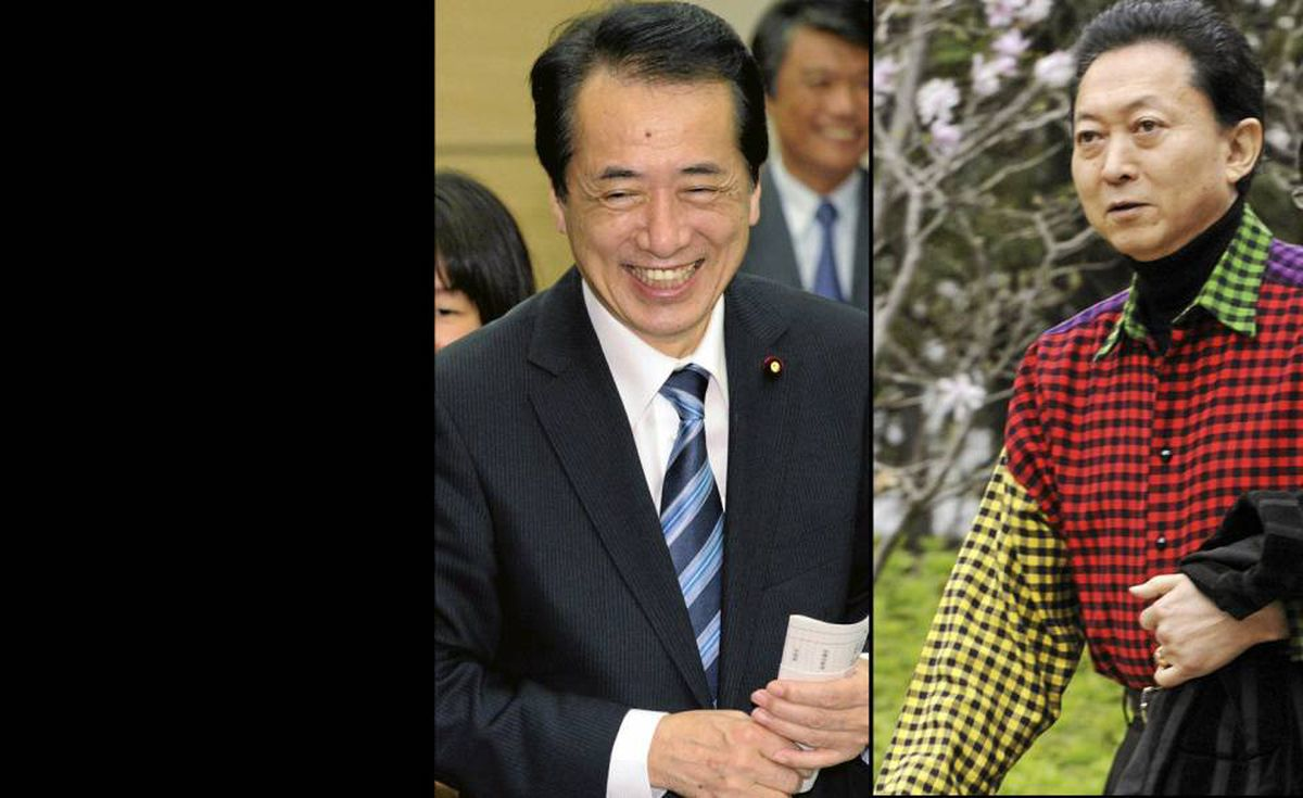 The New Kid: If you're recently installed Japanese Prime Minister Naoto Kan (left), how do you follow a predecessor (right) whose shirts got progressively crazier as he watched his standing in opinion polls drop. Very qui-et-ly.