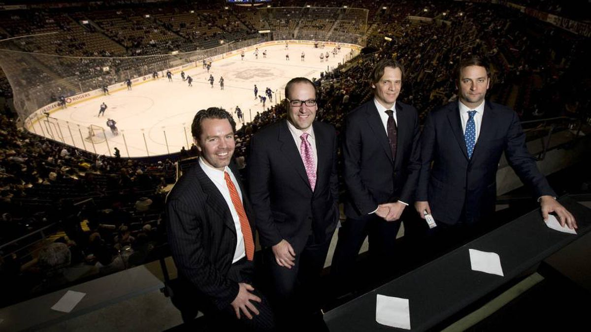 From left to right, Ice Edge Holdings chairman Keith McCullough, CEO Anthony LeBlanc, CFO Todd Jordan, and COO Daryl Jones pose for a photo in a suite at the ACC during NHL regular season action between the Phoenix Coyotes and Toronto Maple Leafs on Wednesday, December 16, 2009.