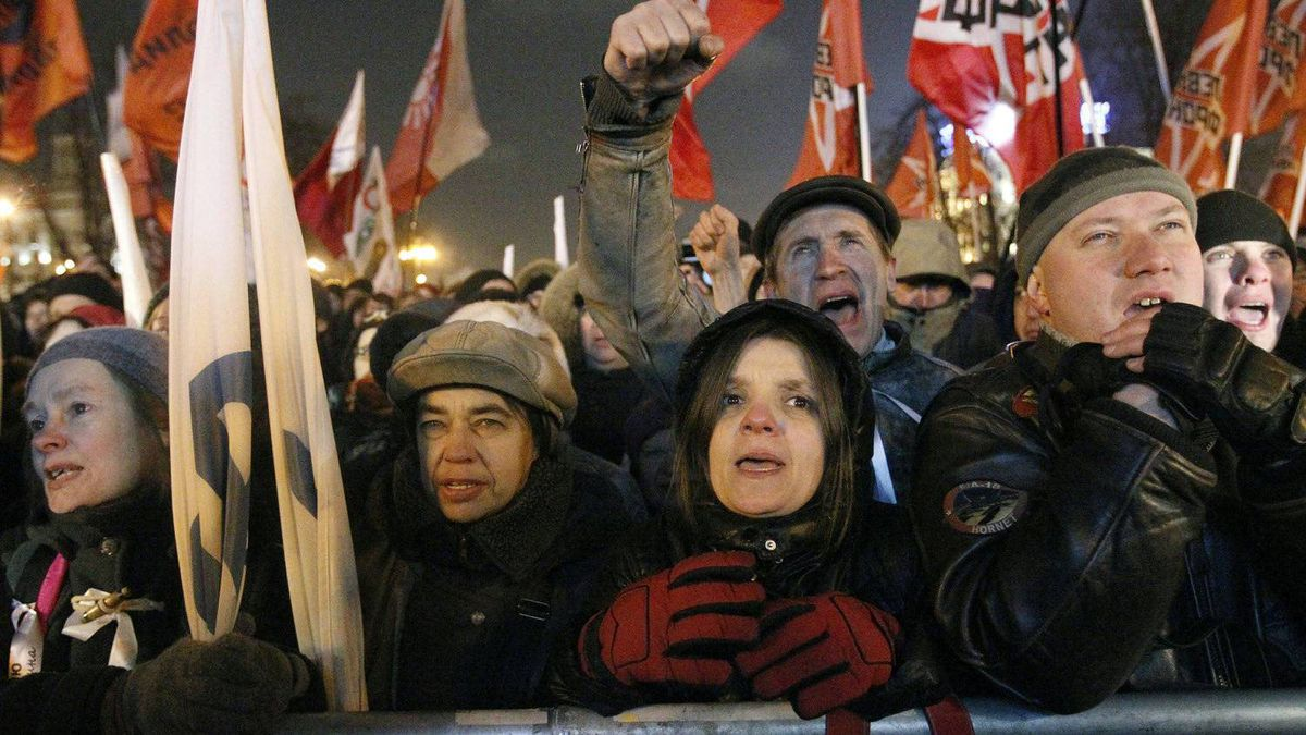 Opposition protesters gather a rally in Moscow, Russia, Monday, March 5, 2012.
