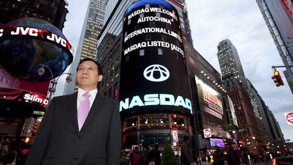 Yong Hui Li, chairman and CEO of AutoChina, in New York's Times Square. The company's shares began trading on Nasdaq in in October, 2009.