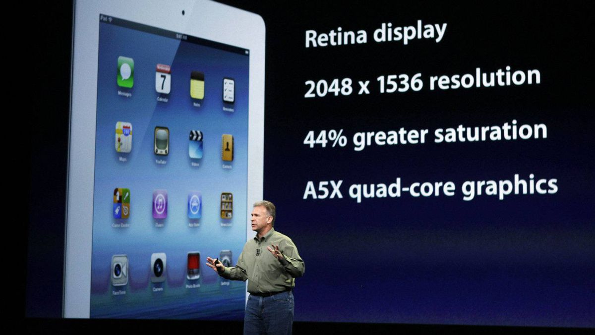 Apple's Phil Schiller senior vice-president of Worldwide Marketing speaks about the new iPad during an Apple event in San Francisco, March 7, 2012.