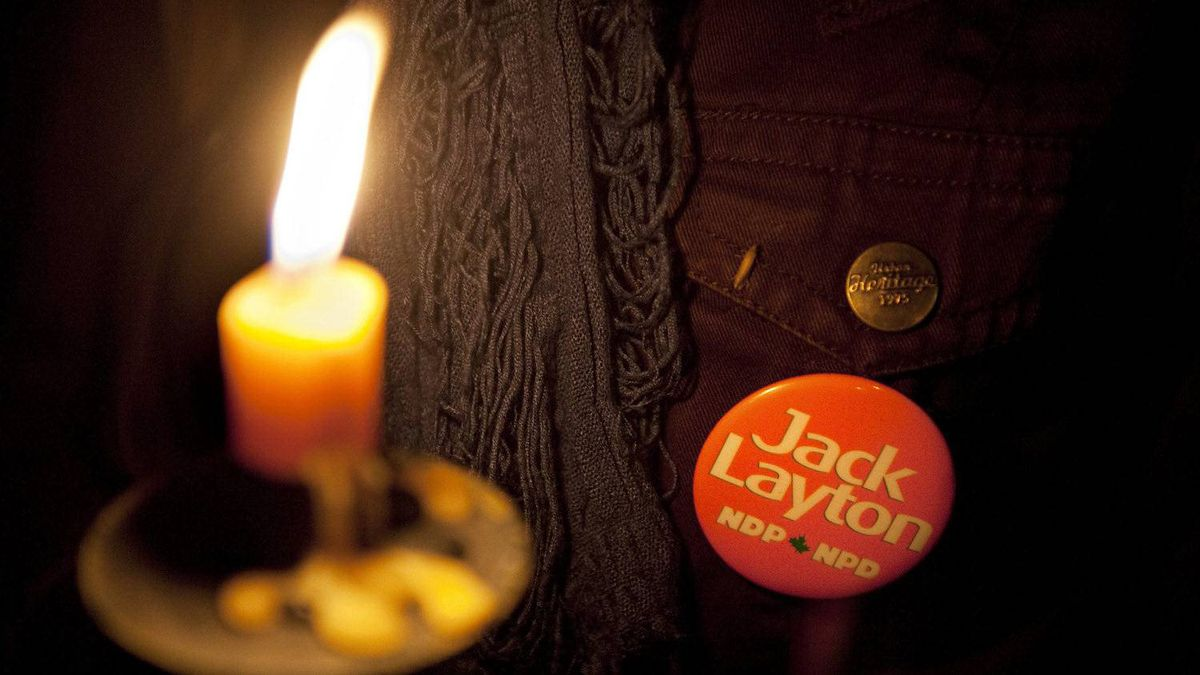 Mourners hold a candlelight vigil in a park for NDP Leader Jack Layton who died Monday after a bout with cancer Monday, August 22, 2011 in Montreal.