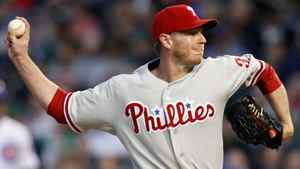 Philadelphia Phillies starting pitcher Roy Halladay throws against the Chicago Cubs in the first inning during their National League baseball game in Chicago, Illinois, May 17, 2012.