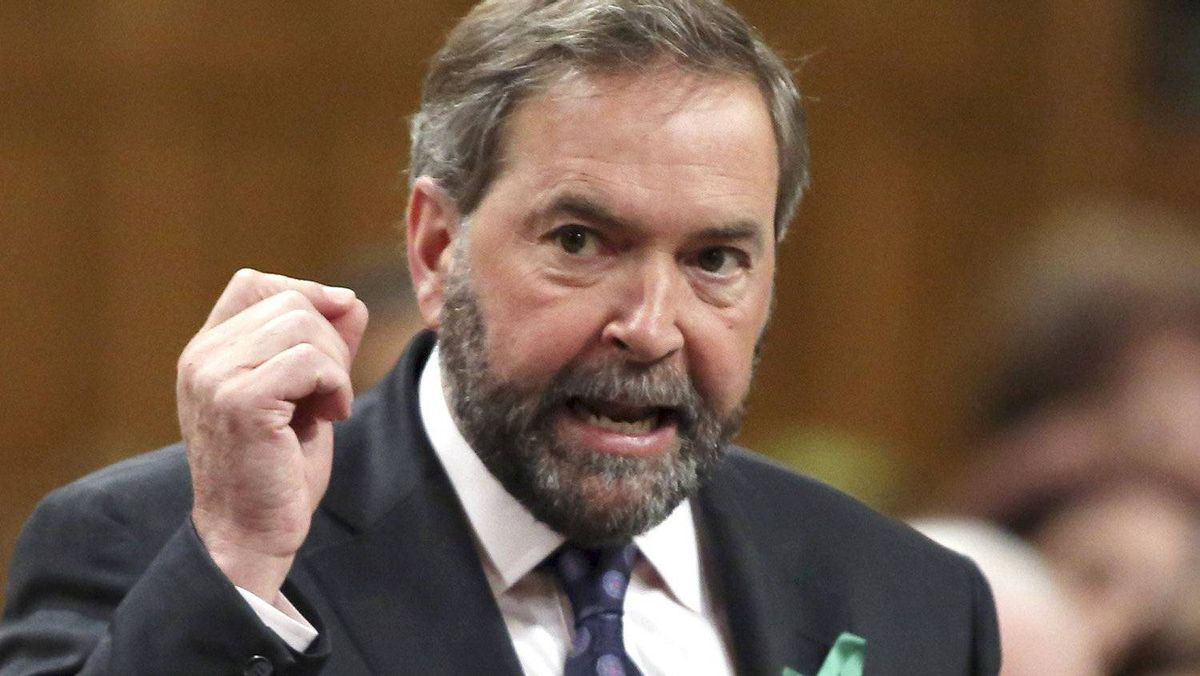 New Democratic Party leader Thomas Mulcair speaks during Question Period in the House of Commons on Parliament Hill in Ottawa April 23, 2012.