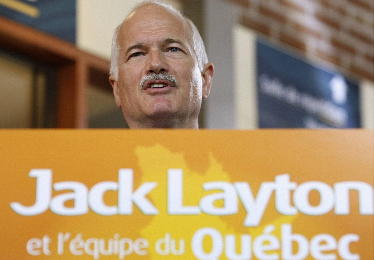 New Democratic Party leader Jack Layton speaks during a news conference at the Periscope theater in Quebec City, September 23, 2008.