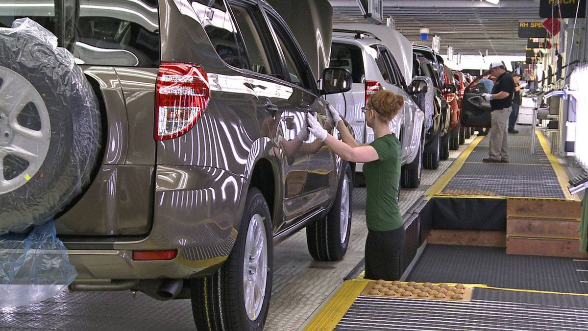 Toyota Rav4 production at the firm's Woodstock, Ont., plant. The flooding in Thailand and the earthquake and tsunami in Japan have cut into Ontario's lead over Michigan as top auto producer in Canada or the U.S.