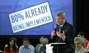 Prime Minister Stephen Harper delivers an update on federal stimulus spending at a town-hall meeting in Cambridge, Ont., on June 11, 2009