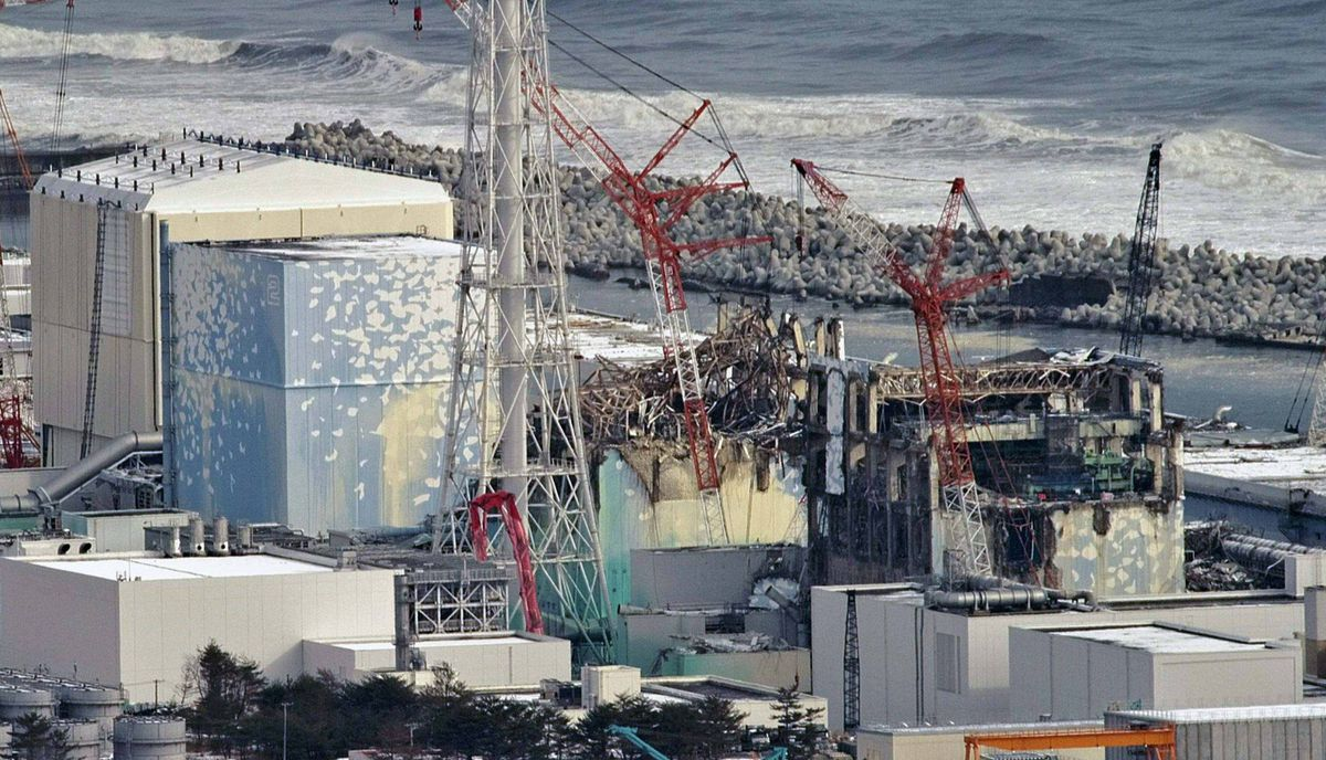Tokyo Electric Power Co. tsunami-crippled Fukushima Daiichi nuclear power plant's (R to L) No.4, No.3 No.2 and No.1 reactor buildings are seen in Fukushima prefecture, in this aerial view photo taken by Yomiuri Shimbun February 26, 2012.