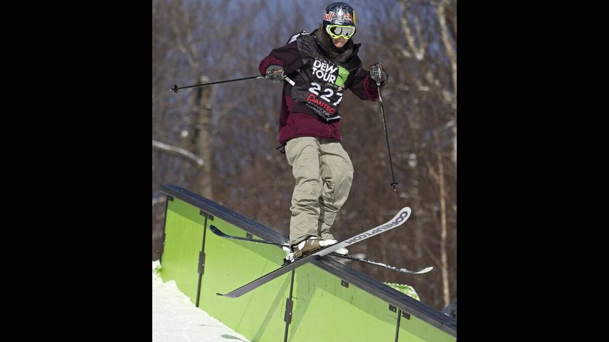 Kaya Turski of Montreal switch direction on a rail on her way to the win in slopestyle final action at the Winter Dew Tour in Killington, Vermont, Sunday, Jan. 22, 2012.