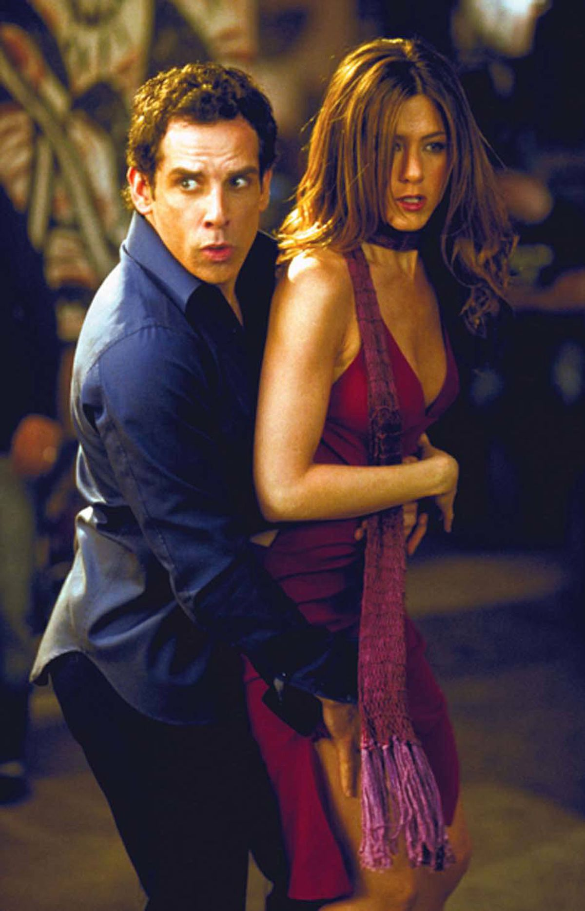 MOVIE Along Came Polly Vision, midnight ET; 9 p.m. PT Comedy veterans Ben Stiller and Jennifer Aniston make an amusingly odd couple in this 2004 romantic comedy. Stiller plays his usual nebbishy self as Reuben, a risk assessment expert whose new wife Lisa (Debra Messing) cheats on him the first day of their Caribbean honeymoon. Once back in New York, Reuben mopes around until he meets the free-spirited Polly, played by Aniston, who convinces him to try exciting new things, like Moroccan food and dance classes. The unlikely couple learn from their differences and slowly start falling in love – and then Lisa shows up looking to reconcile with Reuben. Oscar-winner Philip Seymour Hoffman is highly amusing as Stiller's artiste best friend.