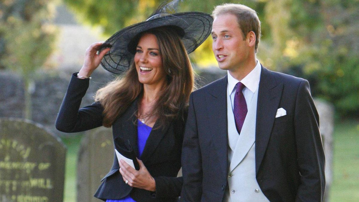 Prince William and Kate Middleton leave the wedding of their friends Harry Mead and Rosie Bradford in the village of Northleach, England in October, 2010.